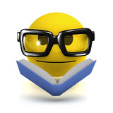 3d Smiley reads a book Royalty Free Stock Images