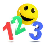 3d Smiley 123. 3d render of a smiley counting to 3 Stock Photos