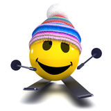 3d Smiley skier Stock Images