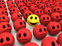 3d Smiley stands out from the crowd Royalty Free Stock Photography