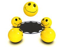 3d Smiley trampoline. 3d render of a smiley on a trampoline royalty free illustration