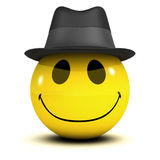 3d Smiley trilby. 3d render of a smiley wearing a trilby royalty free illustration