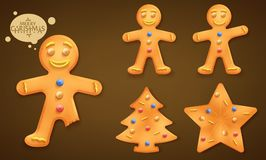 3D Smiling Brown Gingerbread Man, Christmas Tree and Star Cookies Set. For Children this Coming Christmas Holiday Season in Brown Vignette Background. Vector stock illustration