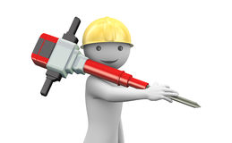 3d smiling man with helmet and jackhammer Stock Image