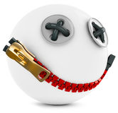 3d smiling sphere face with big zipper Royalty Free Stock Photos