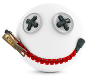 3d smiling sphere face with big zipper Stock Images