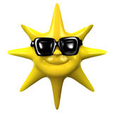 3d Smiling sun wears sunglasses Stock Image
