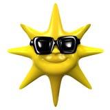 3d Smiling sun wears sunglasses Stock Image