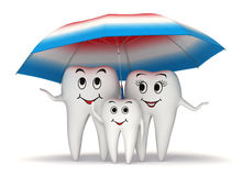 3d Smiling tooth family protection - umbrella stock illustration