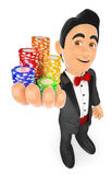 3D Smokingmens met casinospaanders Weddenschapsconcept Royalty-vrije Stock Foto's
