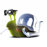 3d Snail biker smoking. 3d render of a snail motorbike outfit with tailpipe, smoking Stock Photography