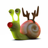 3d Snail dressed as a reindeer with a red nose Stock Photography