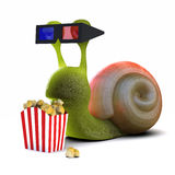 3d Snail at the movies. 3d render of a snail eating popcorn at the movies Stock Image