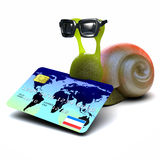 3d Snail spends with his credit card Stock Photo