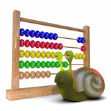 3d Snail using an abacus. 3d render of a snail next to an abacus Royalty Free Stock Photography