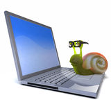 3d Snail works on his laptop Stock Image