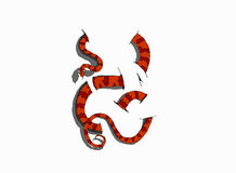 3D snake on white background. Vector illustration, hand drawing 3D Royalty Free Stock Photography