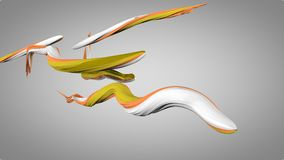 3D Snappy Strokes Moving in a Snaky Way. An arty 3d illustration of wriggling colorful strokes in the grey background. They are of white, orange and green colors Stock Images