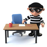 3d Sneaky burglar spys on your desk. 3d render of a burglar studying someones desk Royalty Free Stock Photos