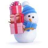 3d Sneeuwman dragende giften Stock Afbeelding
