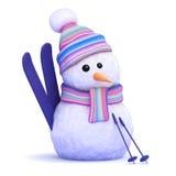 3d Sneeuwman met zijn ski Royalty-vrije Stock Foto's