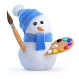 3d Sneeuwmankunstenaar Stock Foto's