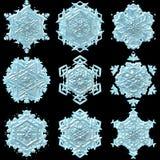 3d sneeuwvlokillustratie op de zwarte achtergrond wordt geïsoleerd die royalty-vrije illustratie