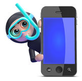 3d Snorkel diver behind smartphone Stock Photography