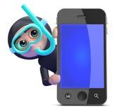 3d Snorkel diver behind smartphone