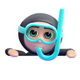 3d Snorkel diver blank space Royalty Free Stock Image