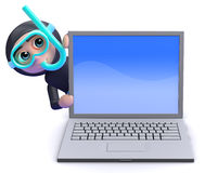 3d Snorkel diver laptop Royalty Free Stock Photos