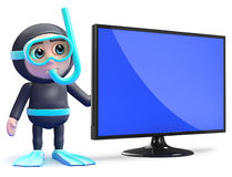 3d Snorkel diver next to flatscreen lcd tv monitor Stock Photo