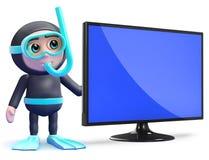 3d Snorkel diver next to flatscreen lcd tv monitor. 3d render of a snorkel diver next to a flatscreen lcd television monitor Stock Photo