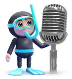 3d Snorkel diver and retro radio microphone Royalty Free Stock Images