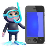 3d Snorkel diver by smartphone Stock Image
