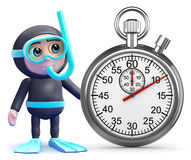 3d Snorkel diver stopwatch Royalty Free Stock Photo