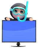 3d Snorkel diver television Stock Photos