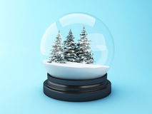 3d Snow dome with pine trees. Royalty Free Stock Photos