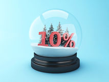 3d Snow dome with trees and red 10% discount. 3d renderer image.  Snow dome with trees and red 10% discount. Winter sale concept Royalty Free Stock Photography