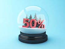 3d Snow dome with trees and red 50% discount. 3d renderer image.  Snow dome with trees and red 50% discount. Winter sale concept Stock Photos