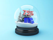 3d Snow dome with trees and red 75% discount. Stock Images