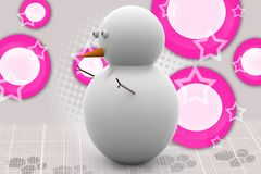 3d snow man  illustration Stock Images