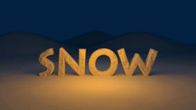 3D snow text Stock Photos
