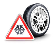 3d snow wheel. And snowflake warning sign,  white background, 3d image Royalty Free Stock Photo