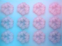 3d snowflake background. Christmas 3D geometric symmetry ornamental snowflake Stock Photo