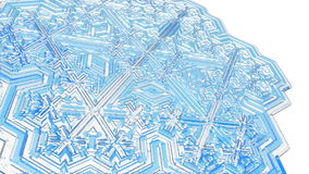 3D snowflake. Of clear ice spinning on white. FullHD 1080p stock video footage