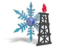 3d snowflake with europe union flag textured sphere and gas rig model near Royalty Free Stock Images