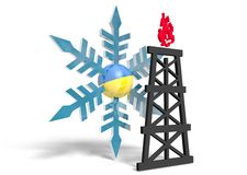 3d snowflake with ukraine flag textured sphere and gas rig model near Stock Images