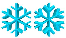 3D snowflakes illustration with clipping path. This is a snowflakes 3D illustration with clipping path Stock Photography