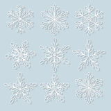 3D snowflakes set. Background for winter and christmas theme. Vector illustration Royalty Free Stock Image
